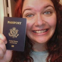 "My dorky ""I'm so excited to have a passport"" face!"