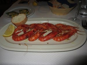 A platter of shrimp in Spain