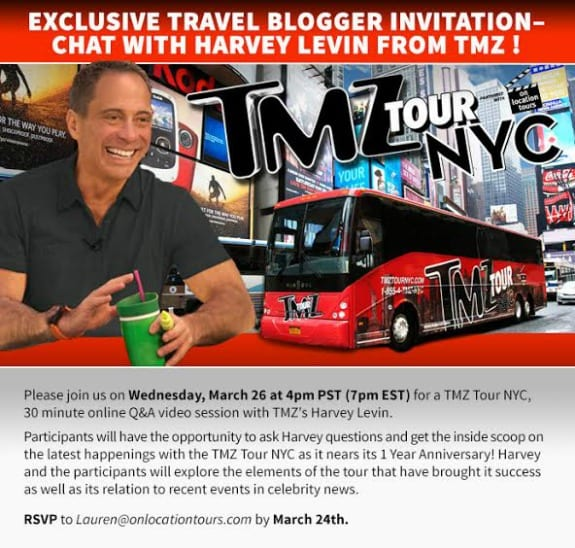 Travel bloggers you re invited to chat with harvey levin for Tmz tour new york city