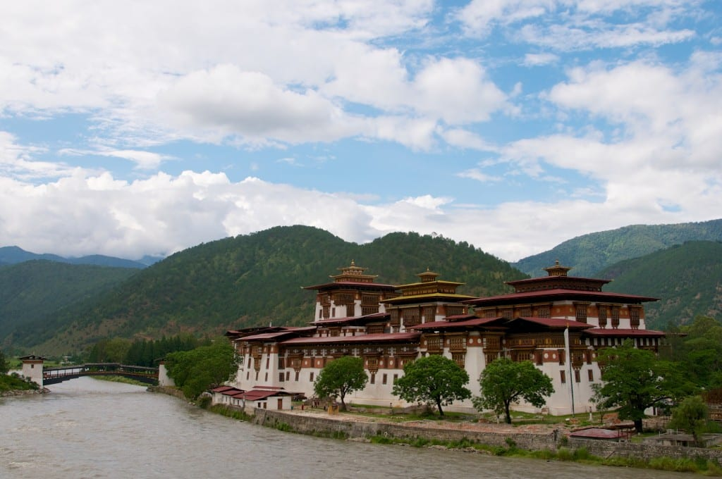 Architecture - Punakha Dzong and Bridge Over River - Punakha, Bhutan - Copyright 2013 Ralph Velasco