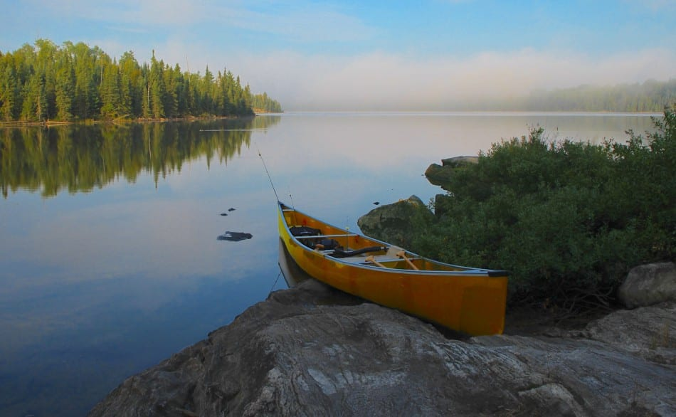 The canoe and it's passengers find a safe harbor and rest after a long journey on the BWCA waterways.