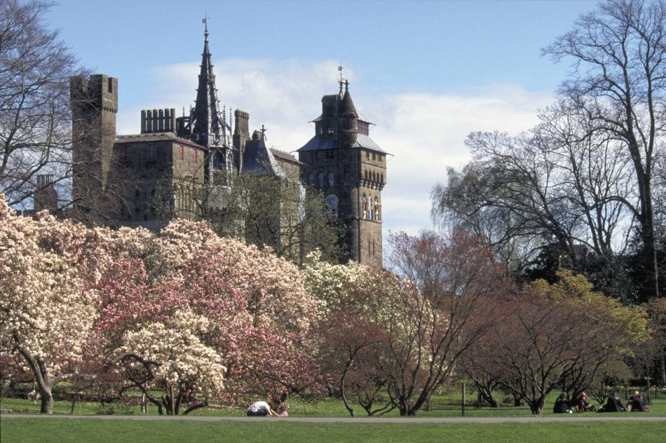 Castle from Bute Park, Cardiff, South Glamorgan, Wales