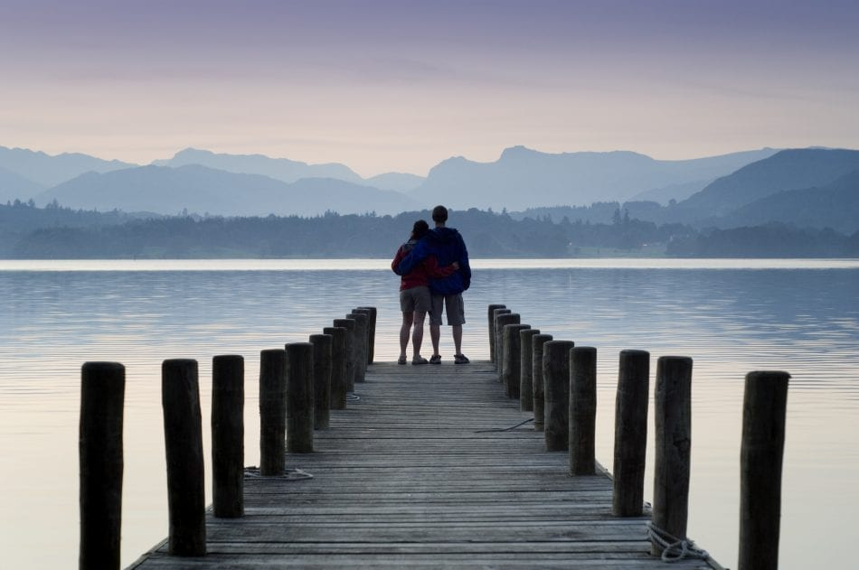 Low Wood Hotel jetty at the edge of Lake Windermere, Cumbria, England