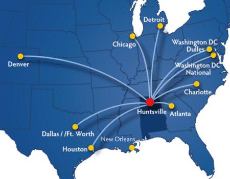 Huntsville Direct Flights Map