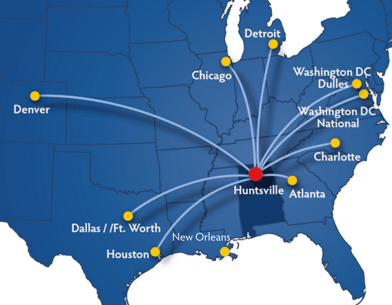 Huntsville Direct Flights Map