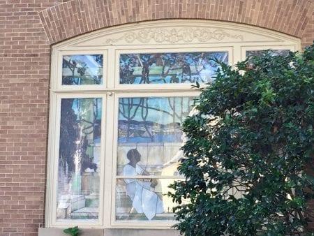 Tiffany stained glass window in Huntsville's Twickenham District