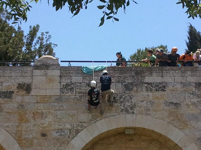 Snappling Rappelling at the Sherover Promenade in Jerusalem