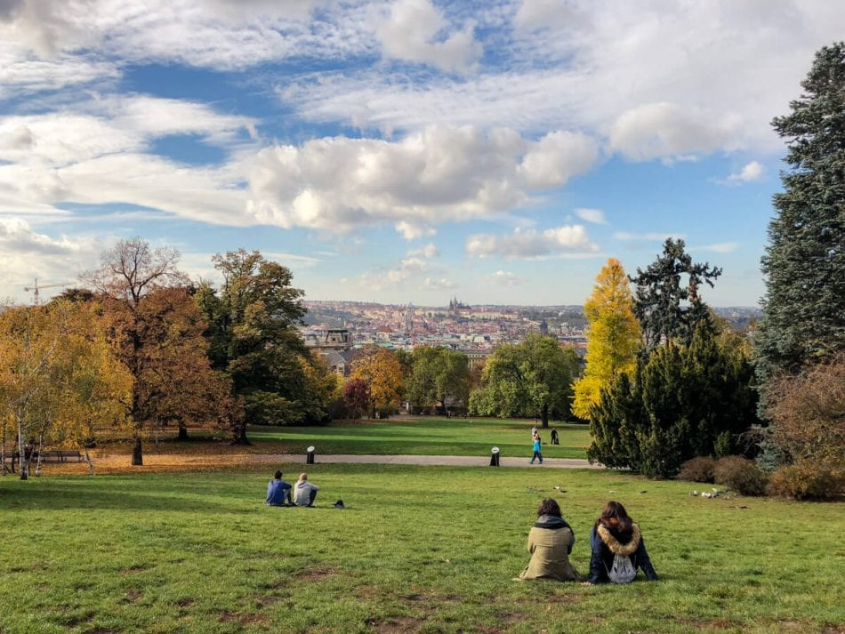 Riegrovy Sady with a view of Prague Castle, Czech Republic